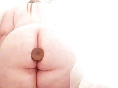 OMG, lovely Chubby anal toying in the Shower