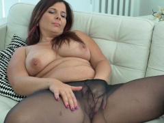 Euro milf Ria Black loves wearing pantyhose lacking in panties