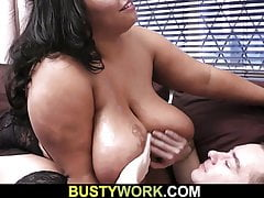 Tramp fucks mega-boobs ebony plumper from privately