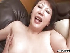 Hot Japanese MILF taking a big dick in her small Asian pussy