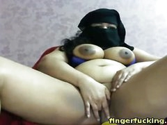 fat arab girl fingerfucks her pussy more than cam