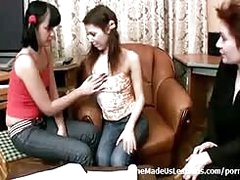 A adult instructor shows a couple of hot young 18 year old teenies how to properly attempt hot lesbians sex...