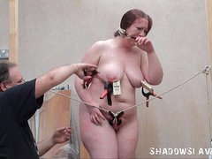 Bizarre fat slave punishment and homemade tools bdsm for chubby RosieB in avant-garde