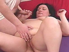 Chubby milf jerking laconic load of shit