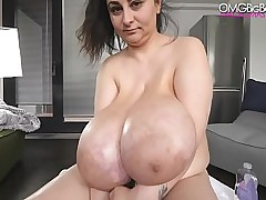 heavy tits amateur with cucumber