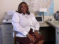 Sexy black BBW plays close by her wet pussy