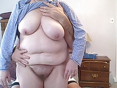 wifes odd sized boobs, hairy pussy & big white ass