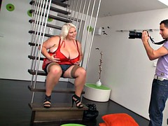 Big gut blonde doggystyled after photosession