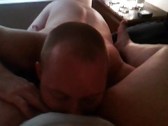 Eating hairy BBW pussy