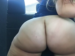 PAWG in car after work