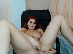 Tania big boobs redhead babe undresses within reach home